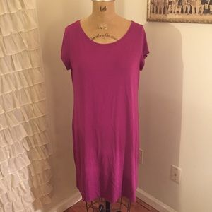 Eileen Fisher Pink Magenta Purple cap Slv Dress